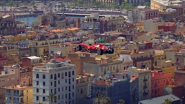 Media sports marketing hace volar un monoplaza ferrari for Horario oficinas banco santander barcelona