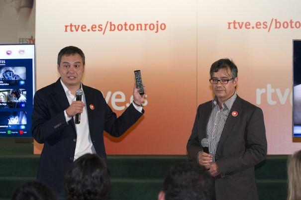 Villa y Asensi en la presentación de RTVE Botón Rojo